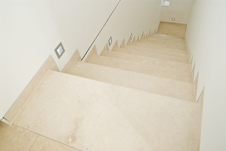 Travertine Ivory   Interior Stairs, Filled And Burnished.